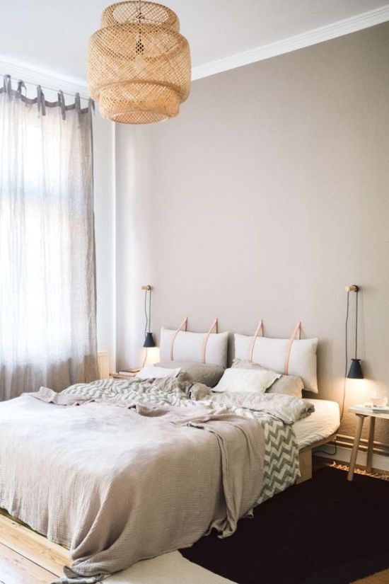 Contemporary Bedroom With A Hanging Pillow Headboard