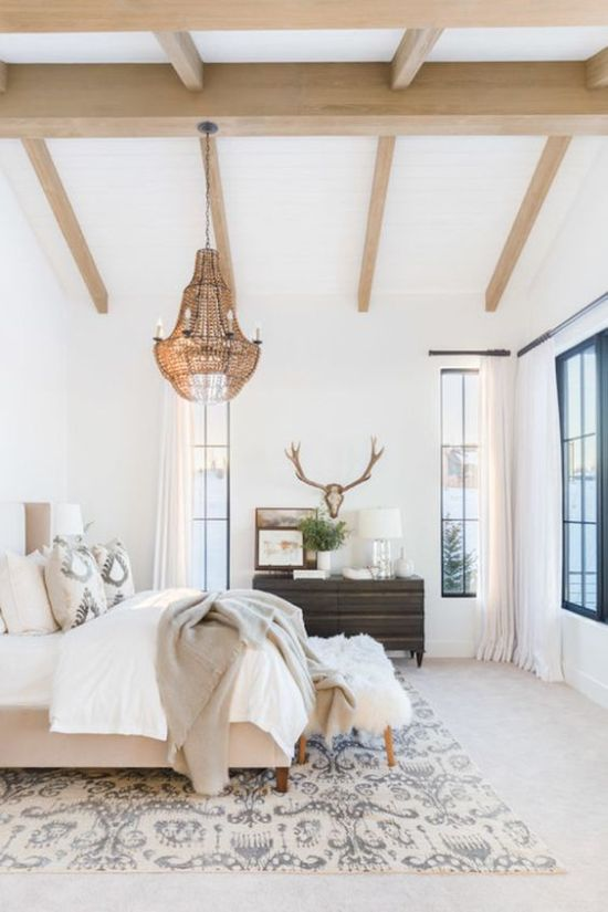 Eclectic Bedroom With Wooden Beams