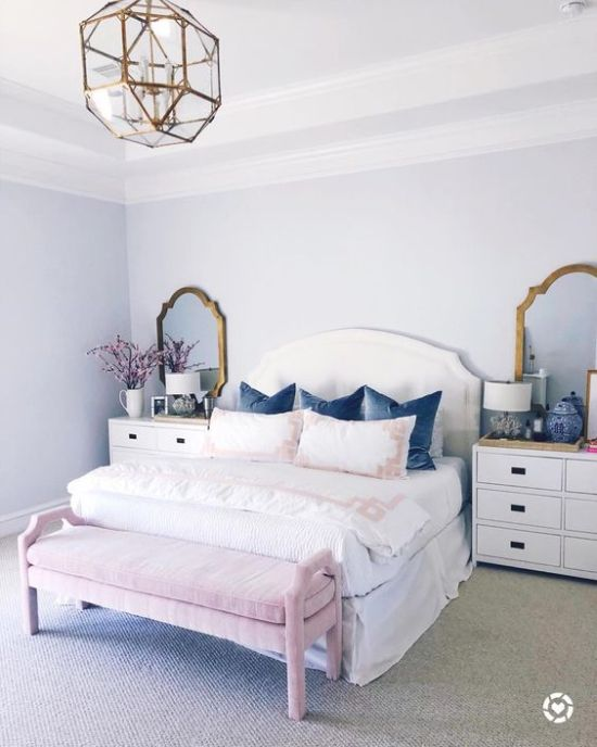 Girlish Bedroom With Brass Framed Mirrors
