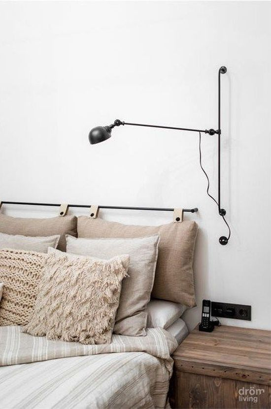Hanging Headboard With Grey Pillows