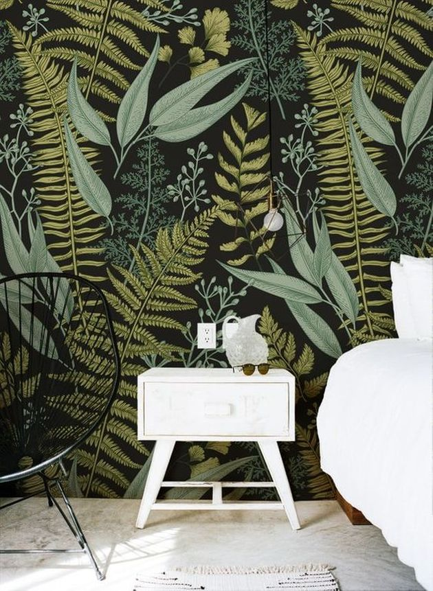 Nature-Inspired Wallpaper Ideas With White Furniture