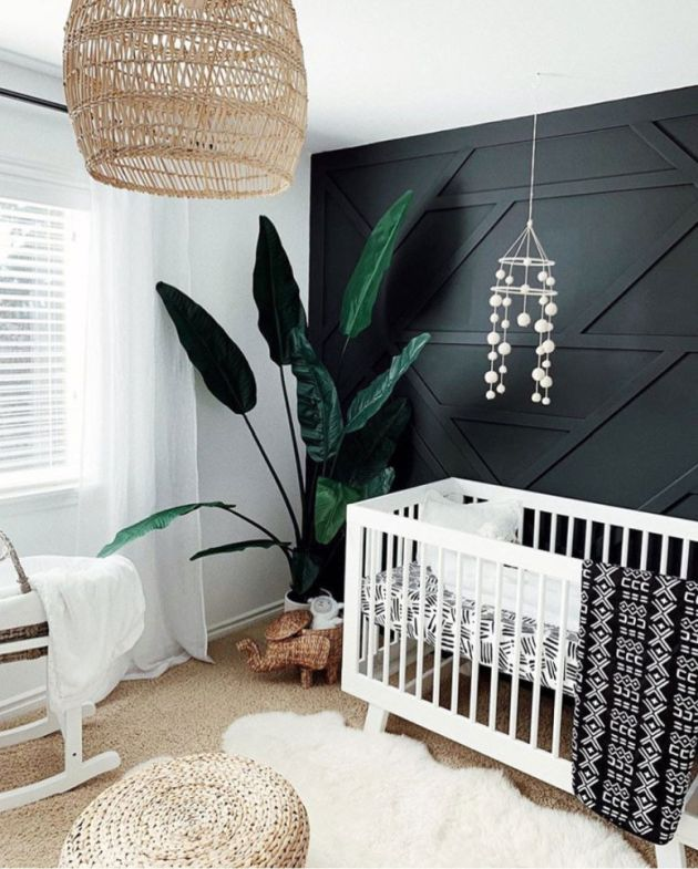 Nursery Decor Trend 2020 With A Black Geometric Accent Wall