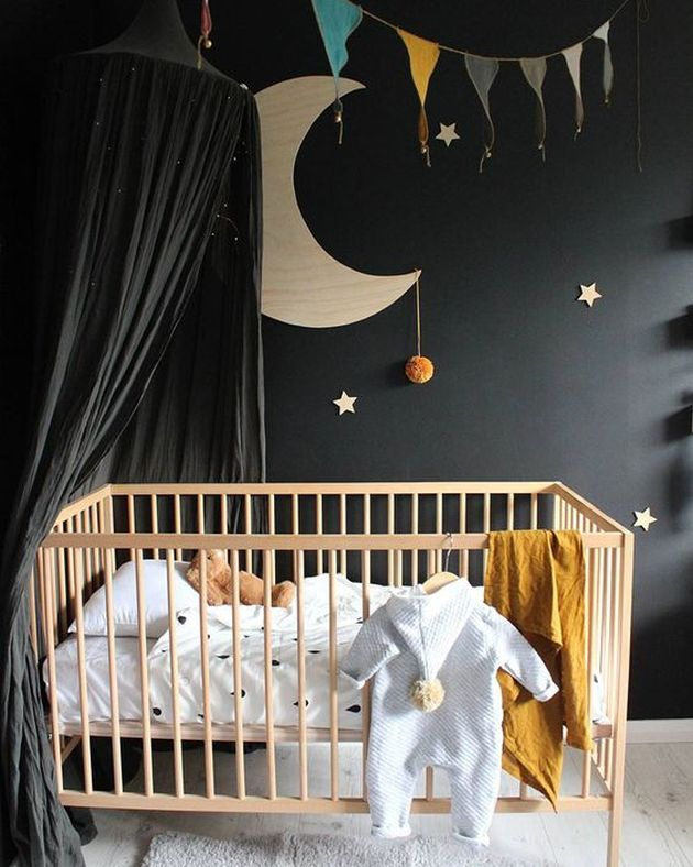 Nursery Decor Trend 2020 With A Black Statement Wall And A Black Canopy