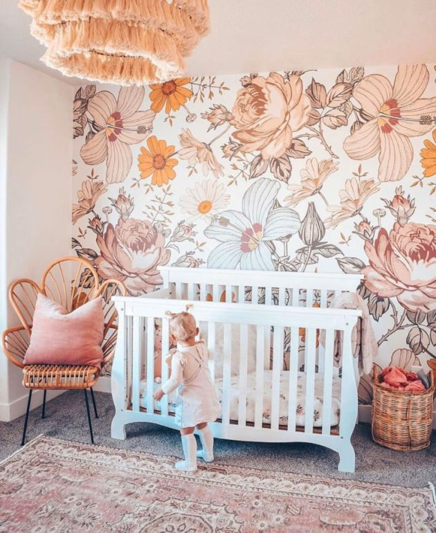 Nursery Decor Trend 2020 With A Large Scale Floral Print Wall