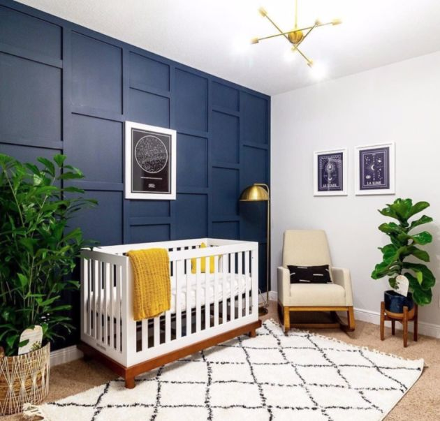 Nursery Decor Trend 2020 With A Navy 3D Wall And A Navy Planter