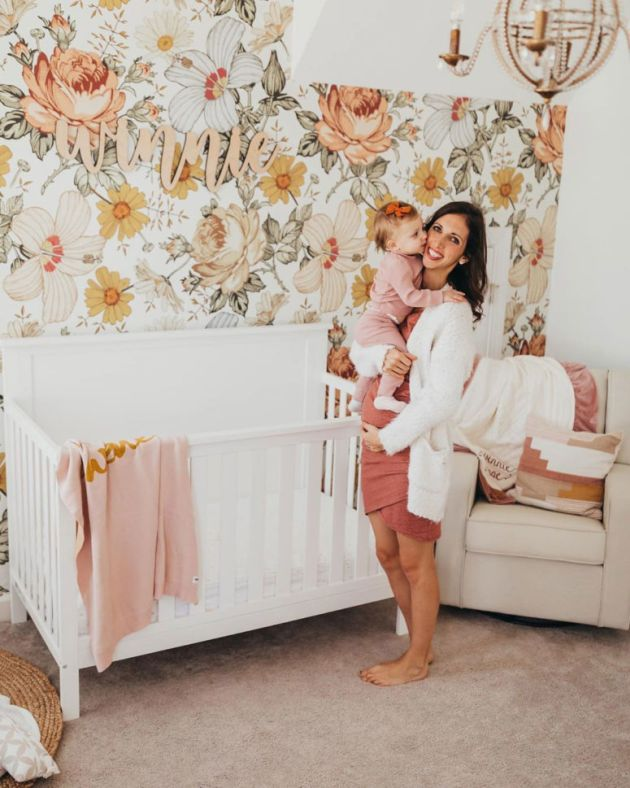 Nursery Decor Trend 2020 With Floral Print Wallpaper Accent Wall