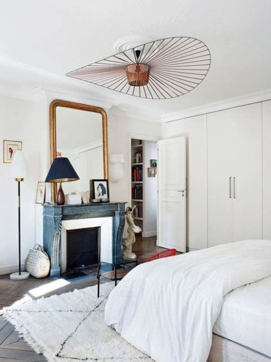Parisian Bedroom With A Statement Copper Chandelier