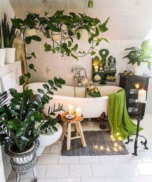 Boho Chic Bathroom With Potted Plants