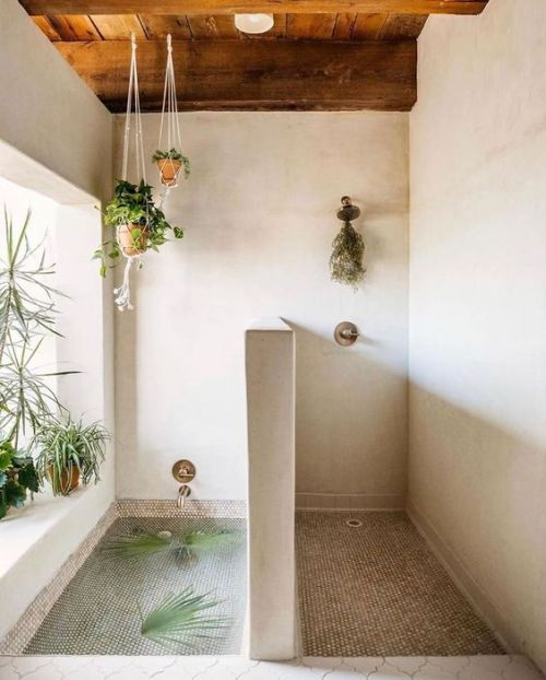 Moroccan-Inspired Bathroom With Greenery In Planters