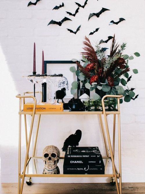 Halloween Bar Cart With An Overstated Skull