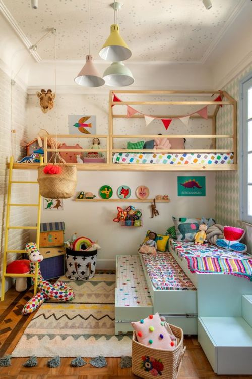 Colorful Kids Room With Pastel Pendant Lamps And Pillows