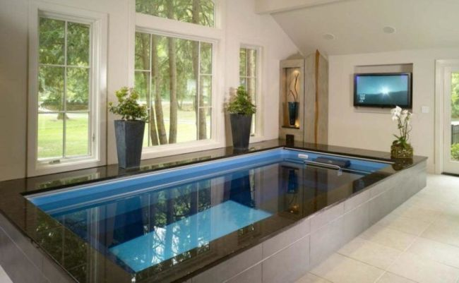 Small Indoor Swimming Pool with Many Windows