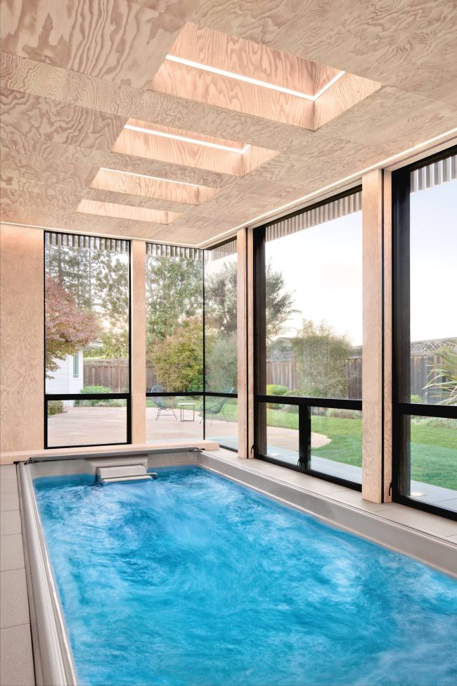 Small Luxury Indoor Swimming Pool with Many Windows